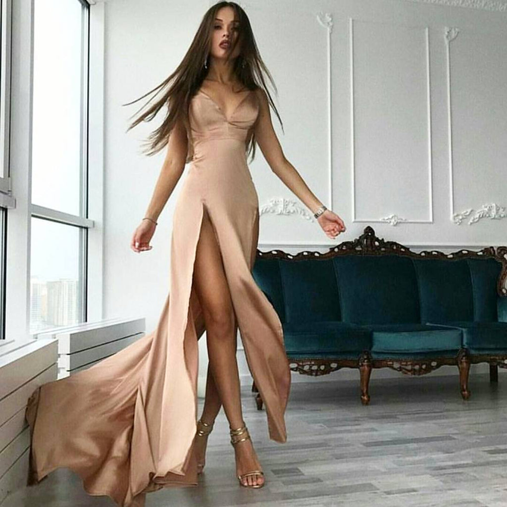 Simple Cheap Sexy Deep V Neckline Side Slit Long Evening Prom Dresses, Popular Cheap Long Custom Party Prom Dresses, 17322