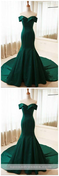 Simple Emerald Green Mermaid Long Evening Prom Dresses, Cheap Sweet 16 Dresses, 18324