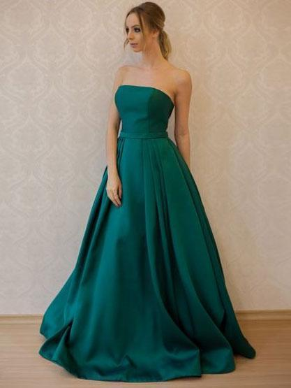 Simple Fashion Strapless Emerald Green A line Long Evening Prom Dresses, 17352
