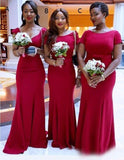 Simple Hot Pink Mismatched Mermaid Long Cheap Bridesmaid Dresses Online, WG312
