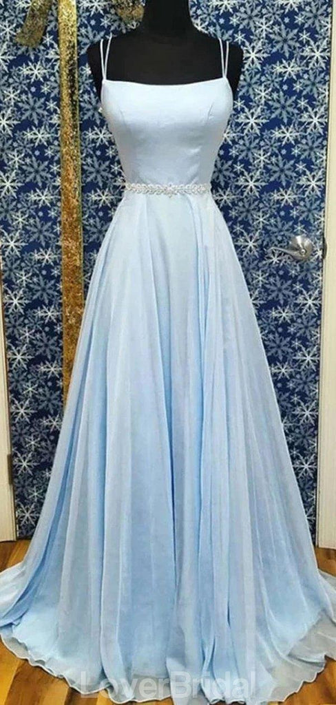 Simple Light Blue Chiffon A-line Long Evening Prom Dresses, Evening Party Prom Dresses, 12187