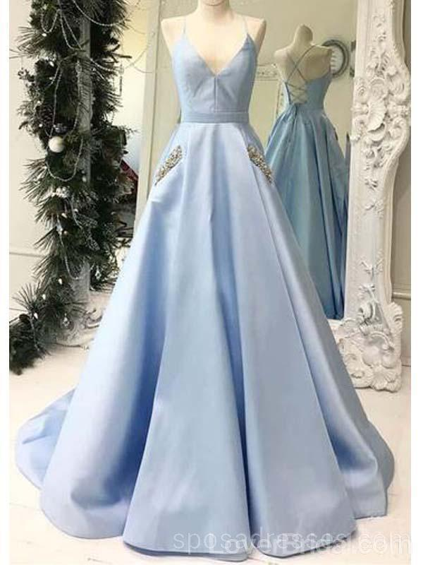Simple Light Blue Long Evening Prom Dresses With Pockets, Cheap Custom Party Prom Dresses, 18596