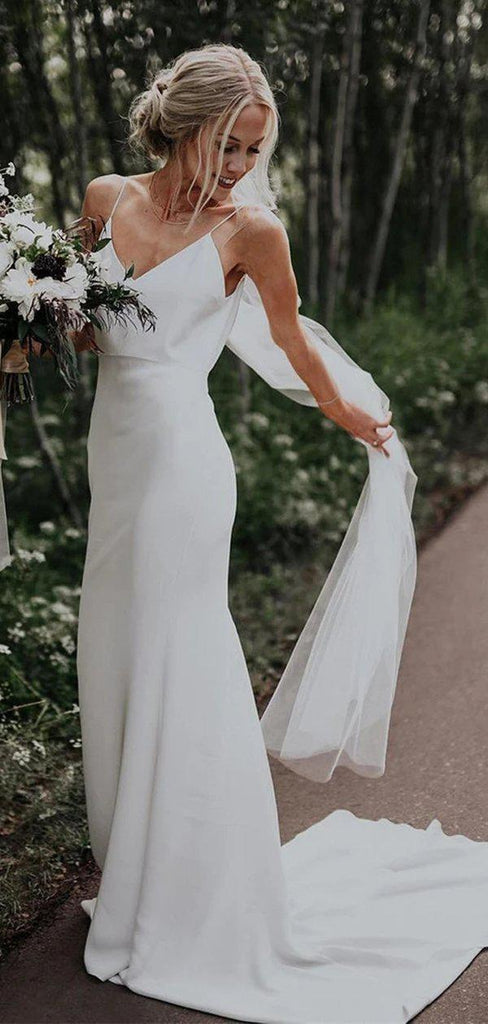 Simple Mermaid Spaghetti Straps Cheap Wedding Dresses Online, Cheap Bridal Dresses, WD628