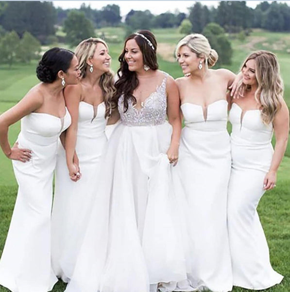 Simple Mermaid White Cheap Long Bridesmaid Dresses Online, Cheap Bridesmaids Dresses, WG720