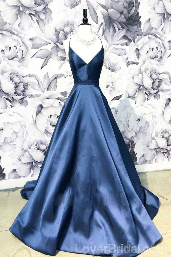 Simple Navy Blue Cheap Long Evening Prom Dresses, Cheap Custom Party Prom Dresses, 18584