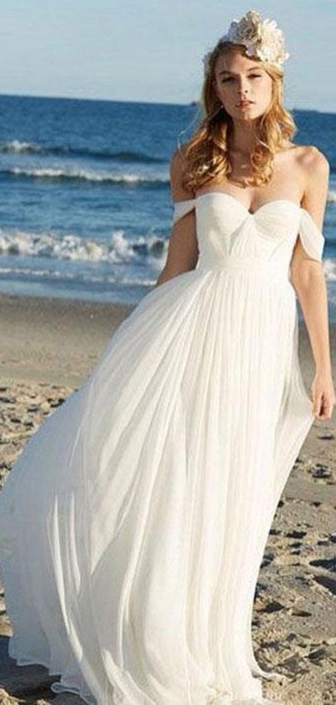 Simple Off Shoulder Beach Wedding Dresses Online, Cheap Chiffon Bridal Dresses, WD437