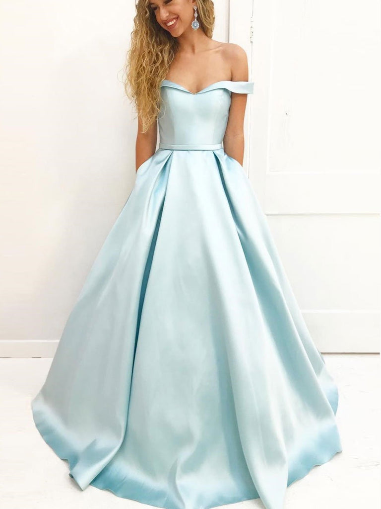 Simple  Off Shoulder Tiffany Blue Satin A line Long Custom Evening Prom Dresses, 17442