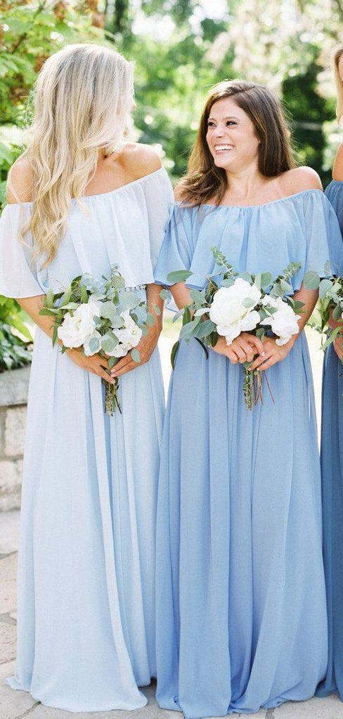 Simple Off The Shoulder Long Bridesmaid Dresses Online, WG783