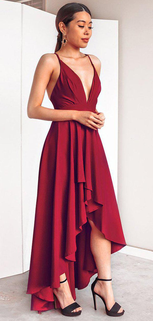 Simple Red High Low Cheap Bridesmaid Dresses Online, WG756
