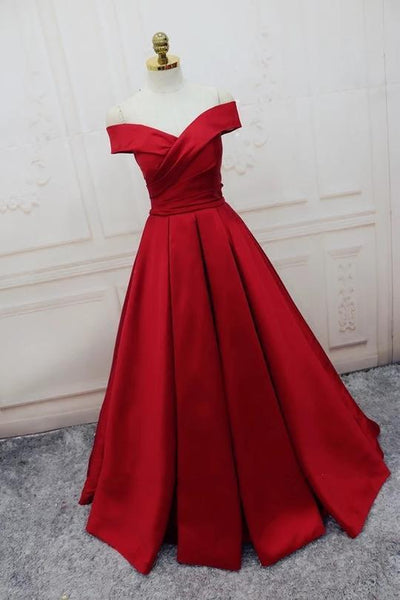 Simple Red Off Shoulder A line Long Custom Evening Prom Dresses, 17418