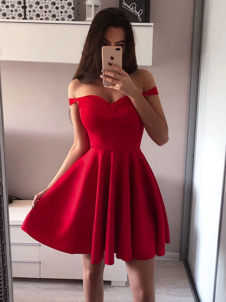 Simple Red Off Shoulder Short Cheap Homecoming Dresses Online, CM729