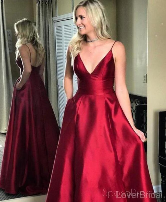 Simple Red Spaghetti Straps Long Evening Prom Dresses, Cheap Party Custom Prom Dresses, 18632
