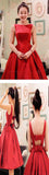 Simple red stain A-line bowknot cute unique formal freshman homecoming prom gown dress,BD0025