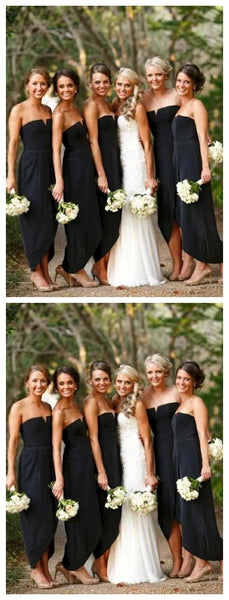 Simple Short Black Cheap Bridesmaid Dresses Online, WG627