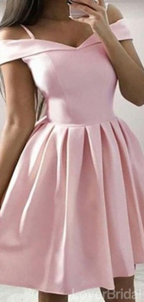 Simple Spaghetti Straps Off Shoulder Satin Short Cheap Homecoming Dresses Online, CM832