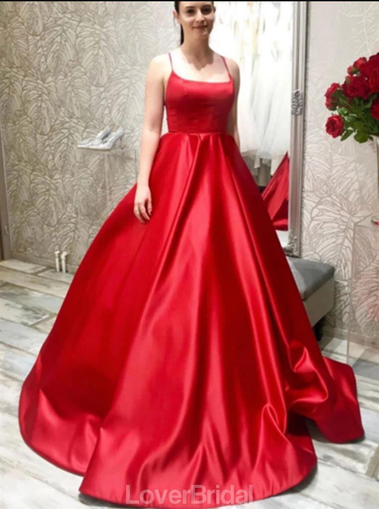 Simple Spaghetti Straps Red A-line Evening Prom Dresses, Evening Party Prom Dresses, 12192