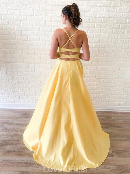 Simple Spaghetti Straps Yellow Side Slit Cheap Long Evening Prom Dresses, Evening Party Prom Dresses, 12145