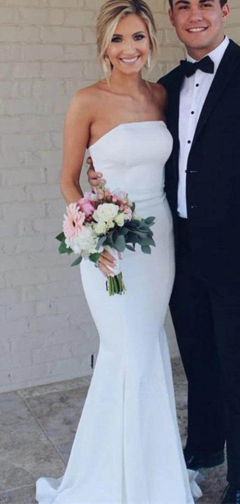 Simple Strapless Mermaid Cheap Wedding Dresses Online, Cheap Bridal Dresses, WD610