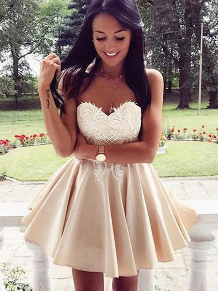 Simple Sweetheart Lace Cute Simple Cheap Homecoming Dresses 2018, CM451
