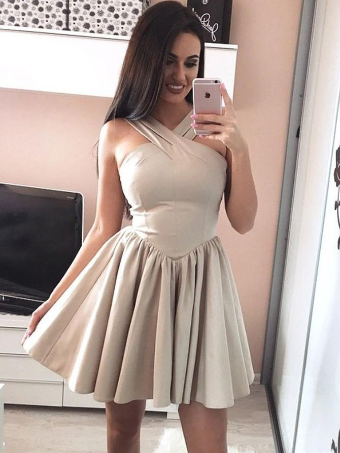 Simple Unique Champange Short Cheap Homecoming Dresses Online, CM725