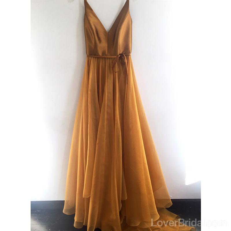 Simple V Neck Gold A-line Long Evening Prom Dresses, Cheap Custom Sweet 16 Dresses, 18565