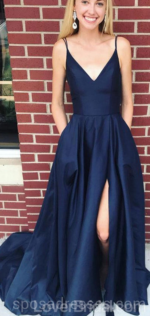 Simple V Neck Side Slit Cheap Long Evening Prom Dresses, Cheap Custom Party Prom Dresses, 18588
