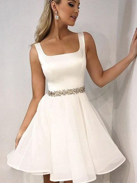 Simple White Beaded Belt Cheap Homecoming Dresses Online, CM716