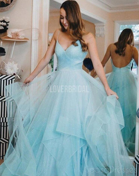 Spaghetti Straps Backless Ruffle  Evening Prom Dresses, Evening Party Prom Dresses, 12270