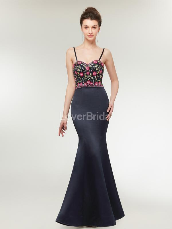 Spaghetti Straps Black Mermaid Long Evening Prom Dresses, Evening Party Prom Dresses, 12018
