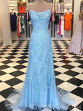 Spaghetti Straps Blue Lace Mermaid Long Evening Prom Dresses, Cheap Custom Sweet 16 Dresses, 18460