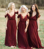 Spaghetti Straps Burgundy Chiffon Long Cheap Bridesmaid Dresses Online, WG313