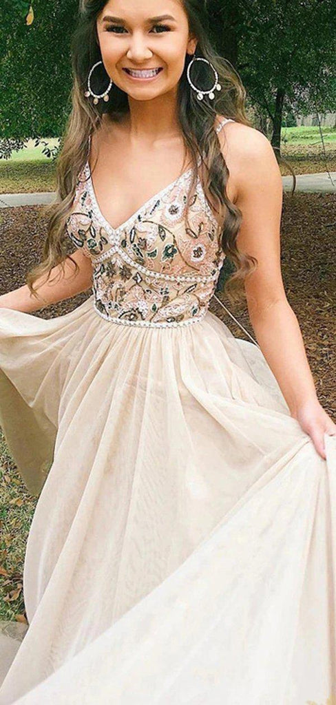 Spaghetti Straps Champagne Beaded Cheap Long Evening Prom Dresses, Evening Party Prom Dresses, 12307