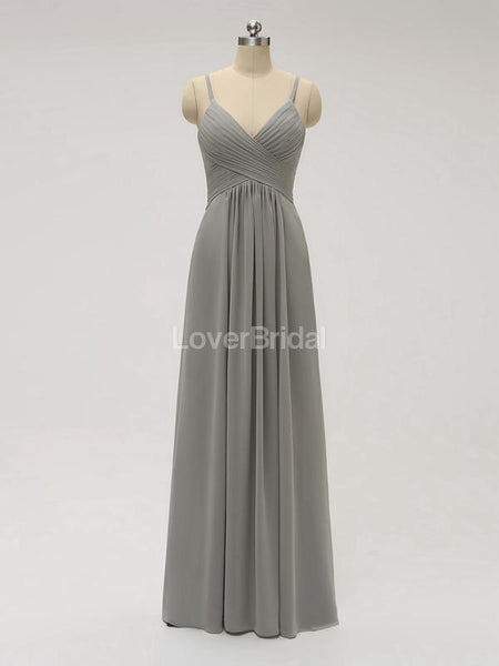 Spaghetti Straps Chiffon Grey Cheap Bridesmaid Dresses Online, WG582