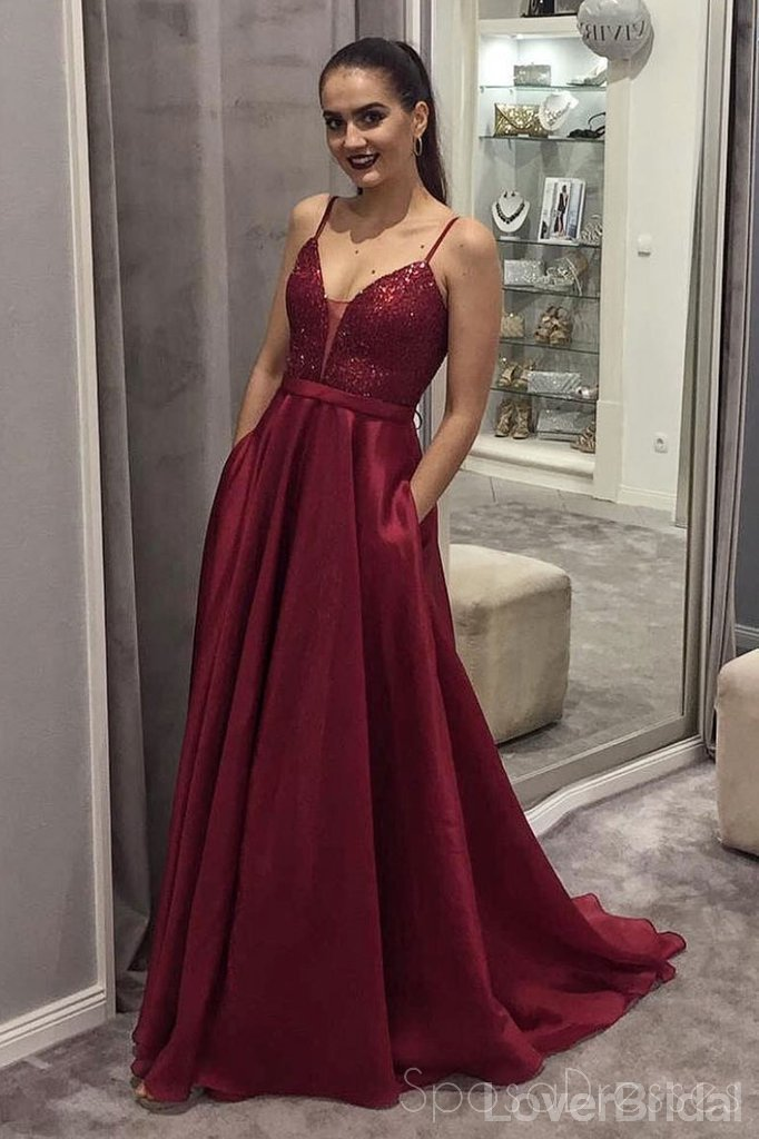 Spaghetti Straps Dark Red Sequin Long Evening Prom Dresses, Party Custom Prom Dresses, 18636