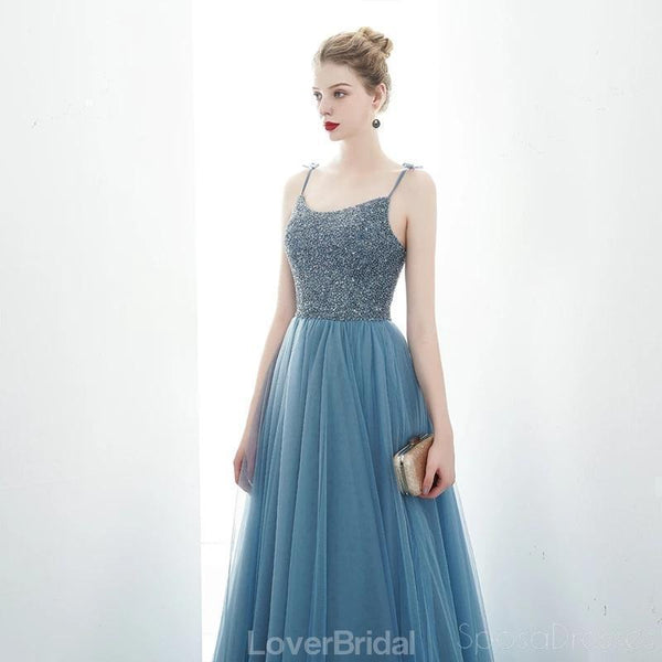 Spaghetti Straps Dusty Blue Cheap Evening Prom Dresses, Evening Party Prom Dresses, 12176