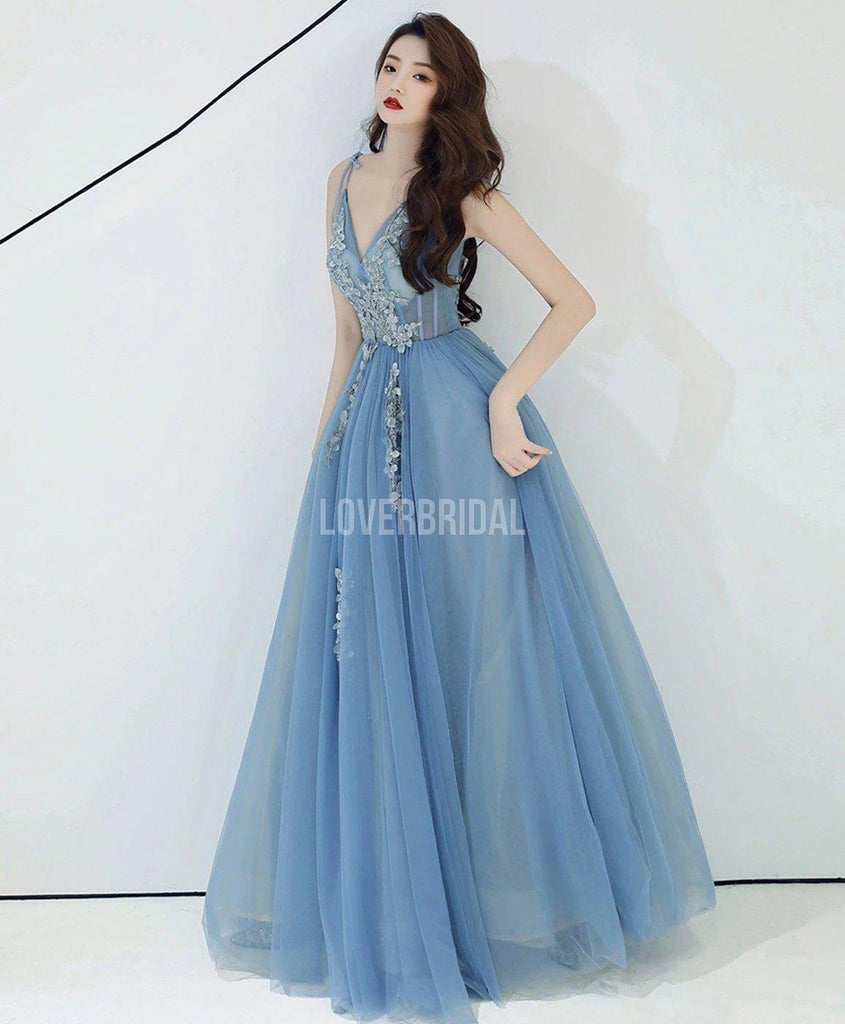Spaghetti Straps Dusty Blue Long Evening Prom Dresses, Evening Party Prom Dresses, 12220