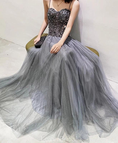 Spaghetti Straps Grey Beaded A-line Long Evening Prom Dresses, Evening Party Prom Dresses, 12207