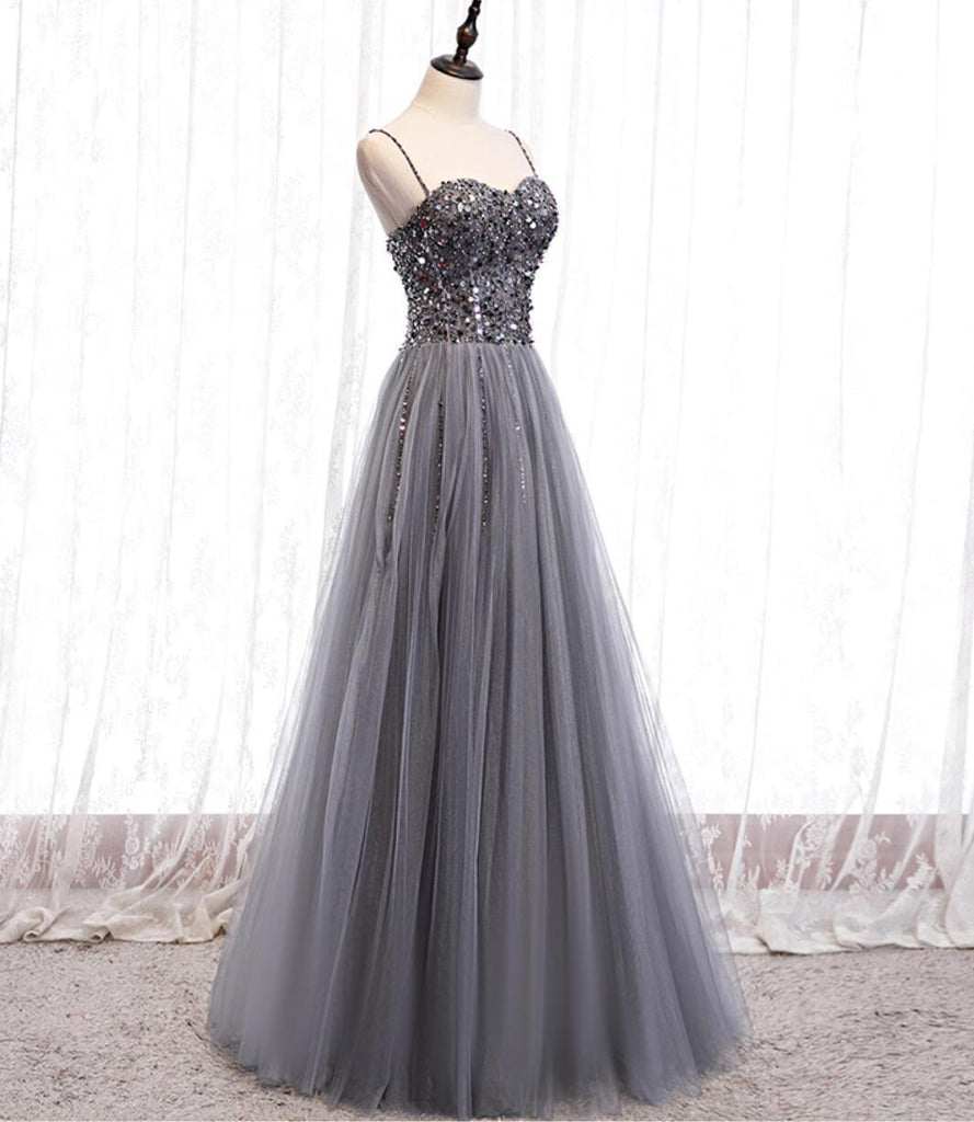 Spaghetti Straps Grey Rhinestone Beaded A-line Long Evening Prom Dresses, Evening Party Prom Dresses, 12330