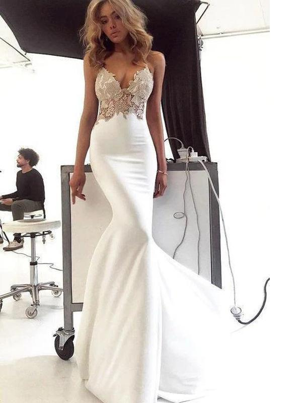 Spaghetti Straps Lace Mermaid Wedding Dresses Online, Cheap Bridal Dresses, WD637