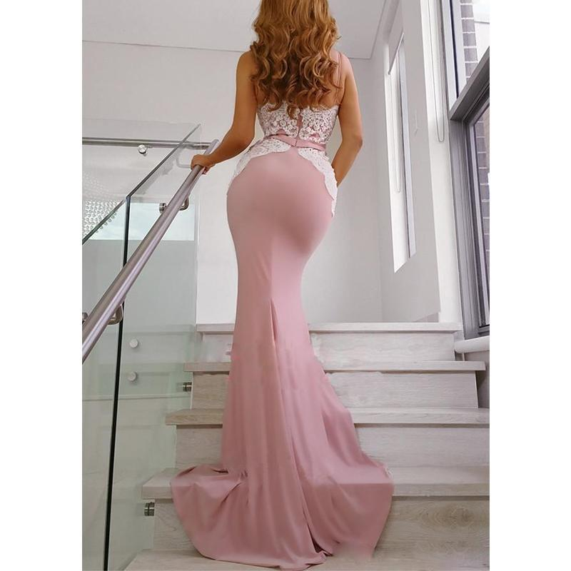 Spaghetti Straps Mermaid Dusty Pink Long Bridesmaid Dresses Online, WG787