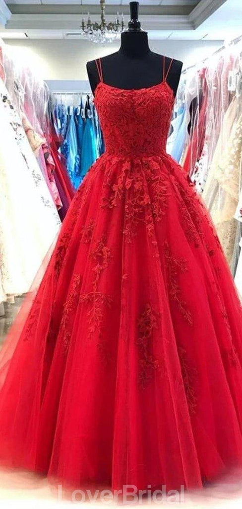 Spaghetti Straps Red A-line Cheap Evening Prom Dresses, Evening Party Prom Dresses, 12180