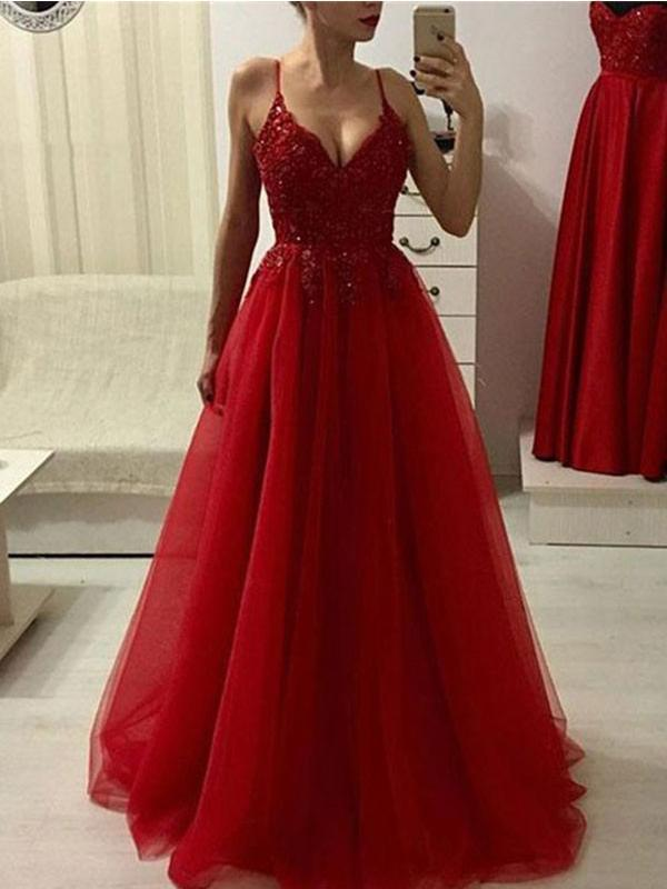 Spaghetti Straps Red Lace Beaded Long Cheap Evening Prom Dresses, Evening Party Prom Dresses, 12349