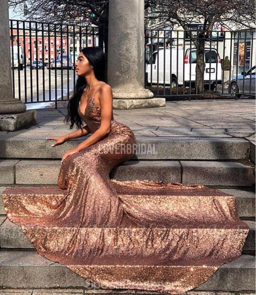 Spaghetti Straps Rose Gold Mermaid Evening Prom Dresses, Evening Party Prom Dresses, 12212