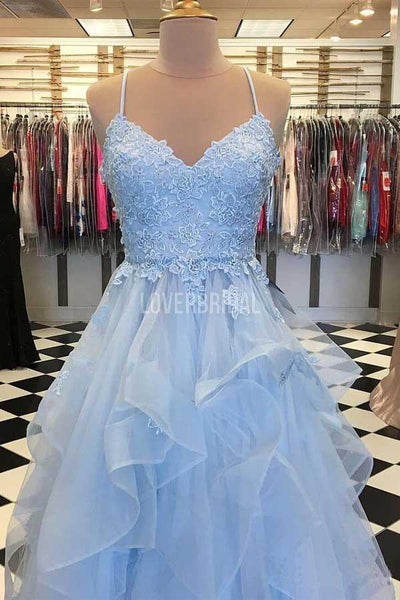 Spaghetti Straps Ruffle Blue Long Evening Prom Dresses, Evening Party Prom Dresses, 12227