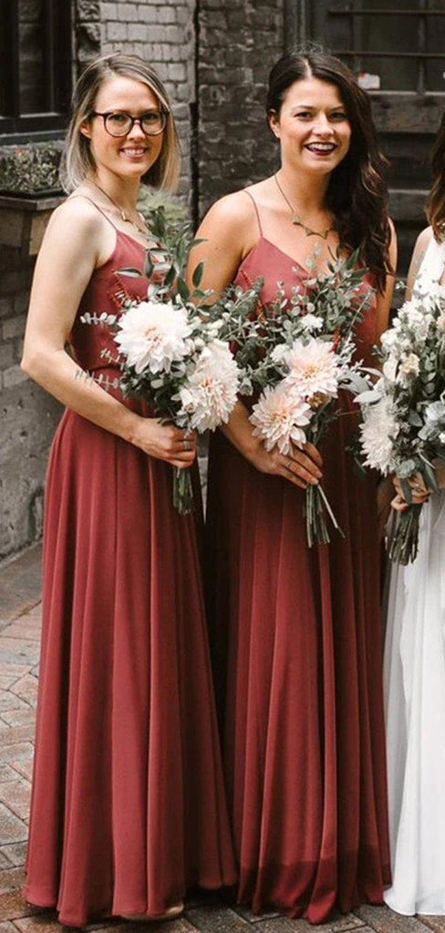 Spaghetti Straps Rust Red Long Bridesmaid Dresses Online, Cheap Bridesmaids Dresses, WG740