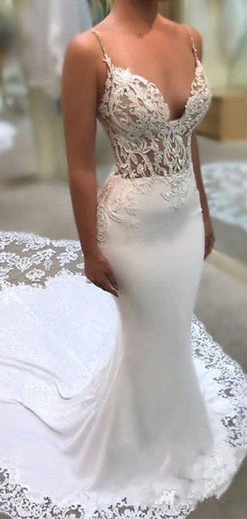 Spaghetti Straps See Through Lace Mermaid Wedding Dresses, Lace Wedding Gown, WD698