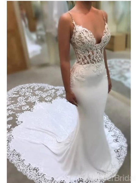 Spaghetti Straps See Through Mermaid Wedding Dresses Online, Cheap Unique Bridal Dresses, WD599