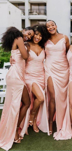 Spaghetti Straps Side Slit Long Bridesmaid Dresses Online, Cheap Bridesmaids Dresses, WG716