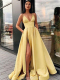 Spaghetti Straps Side Slit Satin Cheap Evening Prom Dresses, Evening Party Prom Dresses, 12154