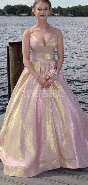 Spaghetti Straps Simple Glitter Evening Prom Dresses, Evening Party Prom Dresses, 12283